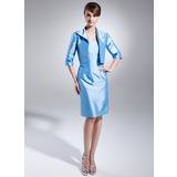 Etui-Linie Trägerlos Knielang Taft Kleid für die Brautmutter (008015653)