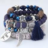 Wings Shaped Alloy Beads Unisex Fashion Bracelets (Set of 4) (137197225)