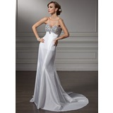 Empire Sweetheart Sweep Train Taffeta Prom Dress With Beading (018005357)