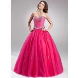 Duchesse-Linie Herzausschnitt Bodenlang Tüll Quinceañera Kleid (Kleid für die Geburtstagsfeier) mit Perlen verziert (021018672)