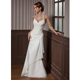 Sheath/Column Halter Floor-Length Chiffon Satin Wedding Dress With Beading Appliques Lace Sequins Cascading Ruffles (002012582)