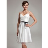 A-Line/Princess Sweetheart Knee-Length Taffeta Wedding Dress With Ruffle Sash Bow(s) (002001338)