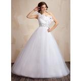 Duchesse-Linie Eine Schulter Bodenlang Tüll Quinceañera Kleid (Kleid für die Geburtstagsfeier) mit Rüschen Perlstickerei Pailletten (021021816)