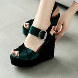 Frauen Keil Absatz Sandalen mit Schnalle Schuhe (087115587)
