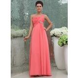 Empire One-Shoulder Floor-Length Chiffon Bridesmaid Dress With Ruffle Beading (007017307)