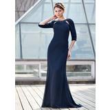 Trompete/Meerjungfrau-Linie U-Ausschnitt Sweep/Pinsel zug Chiffon Kleid für die Brautmutter mit Rüschen Perlen verziert (008018978)