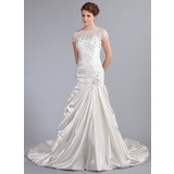 Trumpet/Mermaid Scoop Neck Cathedral Train Satin Tulle Wedding Dress With Ruffle Lace Beading Sequins (002025338)