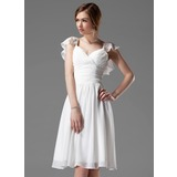 A-Line/Princess V-neck Knee-Length Chiffon Bridesmaid Dress With Beading Cascading Ruffles (007004117)