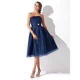 A-Line/Princess Strapless Knee-Length Organza Bridesmaid Dress With Ruffle Crystal Brooch (007001812)