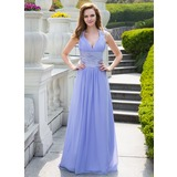 A-Line/Princess V-neck Sweep Train Chiffon Charmeuse Prom Dress With Ruffle Beading Sequins (018024646)