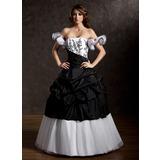 Duchesse-Linie Trägerlos Bodenlang Taft Tüll Quinceañera Kleid (Kleid für die Geburtstagsfeier) mit Rüschen Spitze Perlen verziert (021002835)