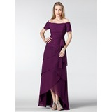 A-Linie/Princess-Linie Schulterfrei Asymmetrisch Chiffon Kleid für die Brautmutter mit Rüschen Perlen verziert (008003182)
