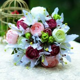 Vivifying Round Satin Bridal Bouquets - (124032044)