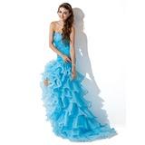 Trumpet/Mermaid Sweetheart Asymmetrical Organza Prom Dress With Beading Split Front Cascading Ruffles (018005086)