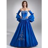 Duchesse-Linie Herzausschnitt Bodenlang Satin Quinceañera Kleid (Kleid für die Geburtstagsfeier) mit Bestickt Perlen verziert (021002843)