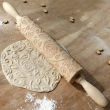Wooden Rose Carved Embossed Rolling Pin (051196115)