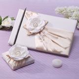 Elegante La perla de faux/Flor Libro de visitas & sistema de la pluma (101037361)