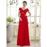 Empire-Linie V-Ausschnitt Bodenlang Chiffon Kleid für die Brautmutter mit Rüschen Kristalle Blumen Brosche (008015435)