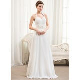 A-linjeformat Grimma Golvlång Chiffong Bröllopsklänning med Rufsar Pärlbrodering Paljetter (002054367)