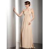 Empire-Linie U-Ausschnitt Bodenlang Chiffon Kleid für die Brautmutter mit Rüschen Perlen verziert (008014534)