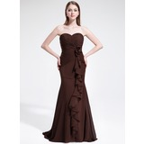 Trumpet/Mermaid Sweetheart Sweep Train Chiffon Bridesmaid Dress With Flower(s) Cascading Ruffles (007025349)