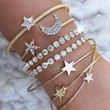 Heart Shaped Alloy Rhinestones With Rhinestone Women's Fashion Bracelets (Set of 4) (137197223)