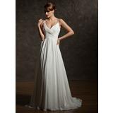 A-linjeformat V-ringning Court släp Chiffong Bröllopsklänning med Rufsar (002004750)