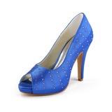 Kvinnor Satäng Cone Heel Peep Toe Plattformen Sandaler med Strass (047011057)
