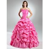Duchesse-Linie Trägerlos Bodenlang Taft Quinceañera Kleid (Kleid für die Geburtstagsfeier) mit Rüschen Blumen (021015576)