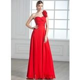 A-Line/Princess One-Shoulder Floor-Length Chiffon Evening Dress With Ruffle Flower(s) (017002599)