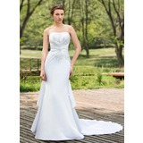 Trumpet/Mermaid Sweetheart Chapel Train Satin Wedding Dress With Beading Sequins Cascading Ruffles (002024691)
