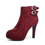 Vrai cuir Talon stiletto Bottines avec Boucle chaussures (088053462)