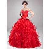 Duchesse-Linie Herzausschnitt Bodenlang Satin Organza Quinceañera Kleid (Kleid für die Geburtstagsfeier) mit Perlen verziert Gestufte Rüschen (021004664)
