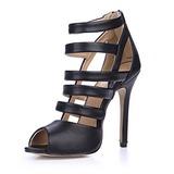 Kunstleder Stöckel Absatz Sandalen Absatzschuhe Peep Toe mit Reißverschluss Schuhe (087051696)