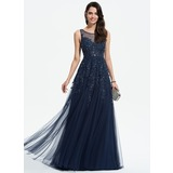 A-Line Scoop Neck Sweep Train Tulle Prom Dresses With Lace Beading (018175948)