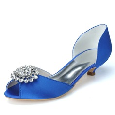 Women's Satin Kitten Heel Peep Toe Pumps With Rhinestone (047057082)