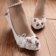 Frauen Kunstleder Stöckel Absatz Geschlossene Zehe Absatzschuhe mit Nachahmungen von Perlen Blume (047104072)