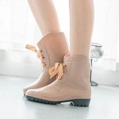 Frauen PVC Niederiger Absatz Geschlossene Zehe Stiefel Stiefelette mit Zuschnüren Schuhe (088127048)