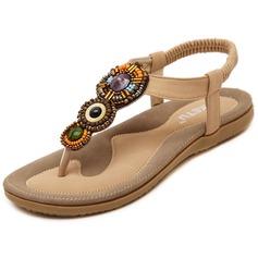 Frauen Kunstleder Flascher Absatz Sandalen mit Perlstickerei Schuhe (087093230)
