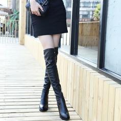 Frauen PU Stämmiger Absatz Stiefel Kniehocher Stiefel mit Niete Schnalle Schuhe (088137092)