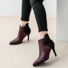 Frauen Kunstleder Stöckel Absatz Absatzschuhe Stiefel mit Niete Zweiteiliger Stoff Schuhe (088105823)