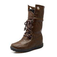 Frauen Kunstleder Niederiger Absatz Geschlossene Zehe Stiefel Stiefel-Wadenlang Martin Stiefel Reitstiefel mit Zuschnüren Schuhe (088171005)
