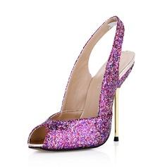 Vrouwen Sprankelende Glitter Stiletto Heel Peep Toe Pumps Slingbacks (047042815)
