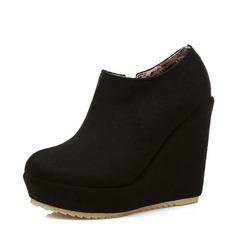 Donna Camoscio Zeppe Stiletto Piattaforma Punta chiusa Zeppe Stivali Stivali alla caviglia con Cerniera scarpe (116150542)