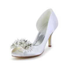 Women's Satin Spool Heel Peep Toe Pumps With Flower (047034378)
