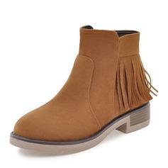 Frauen Veloursleder Niederiger Absatz Stiefel Stiefelette mit Reißverschluss Quaste Schuhe (088146321)