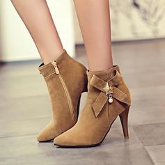 Frauen Veloursleder Stöckel Absatz Absatzschuhe Stiefel Stiefelette mit Bowknot Reißverschluss Schuhe (088140229)