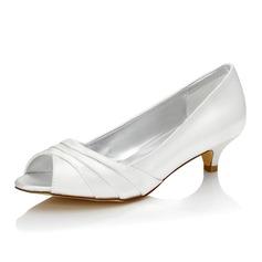 Frauen Satin Niederiger Absatz Peep Toe Sandalen Färbbare Schuhe (047088675)