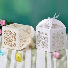 Heart Cut–outs Cuboid Favor Boxes With Ribbons (Set of 12) (050032987)