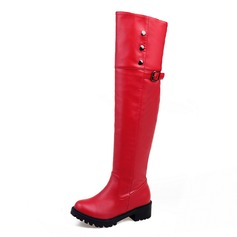 Frauen Kunstleder Flascher Absatz Stiefel Stiefel über Knie mit Niete Schnalle Reißverschluss Schuhe (088109405)